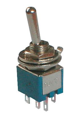 Přepínač páčkový 2pol./6pin ON-ON mini