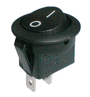 Prepínač kolískový okruhly 2pol./2pin ON-OFF 250V/6A čierny