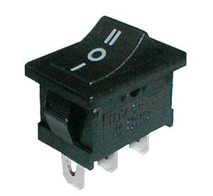 Přepínač kolébkový 3pol./3pin ON-OFF-ON 250V/6A černý