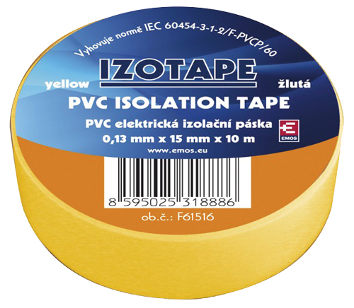 Izolační páska PVC 15/10m žlutá