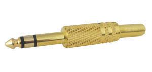 Konektor Jack 6.3 stereo kov zlatý