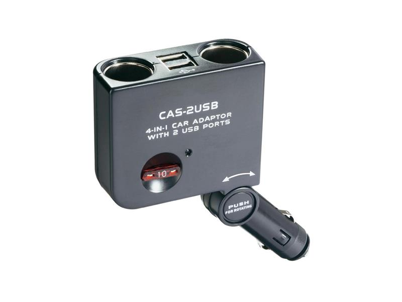 Rozbočka pro autozásuvky, 10 A, s 2 x USB