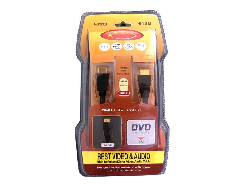 Šňůra HDMI - HDMI 10m Golden Interstar 1.3 (zlaté konektory)