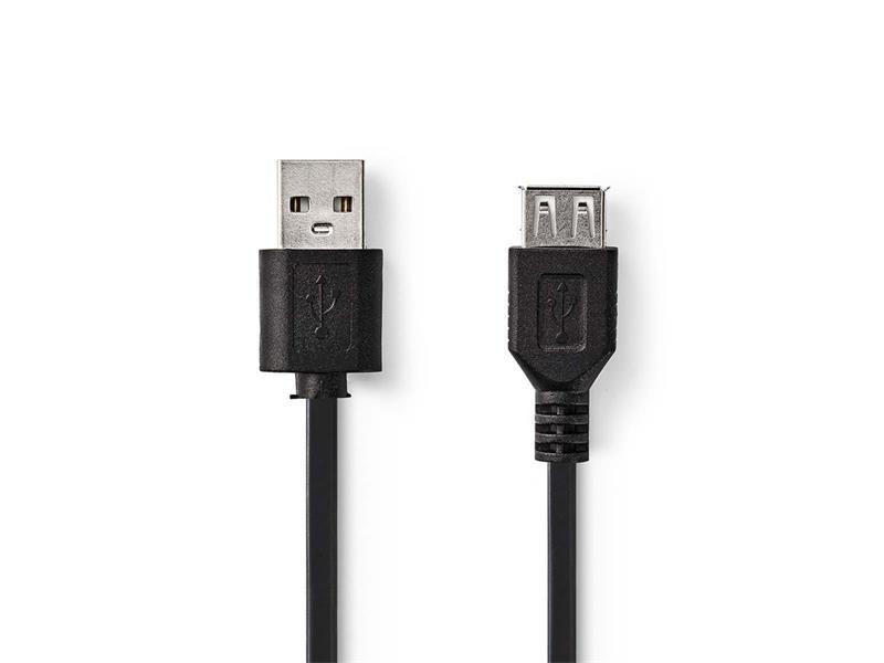 Kábel 1x USB 2.0 A konektor - 1x USB 2.0 A zdierka 2m NEDIS