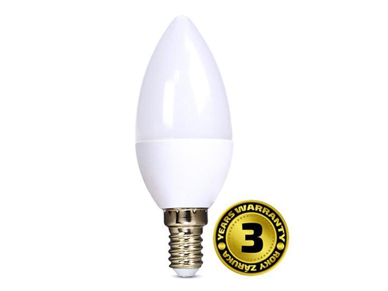 Žárovka LED C37 E14 6W bílá teplá SOLIGHT, 3 roky záruka