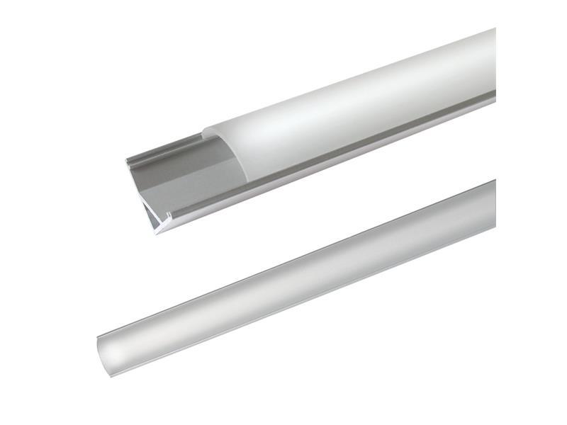 Hliníkový profil AC2 pre LED pásiky, rohový, s vypuklým difúzorom, 1m