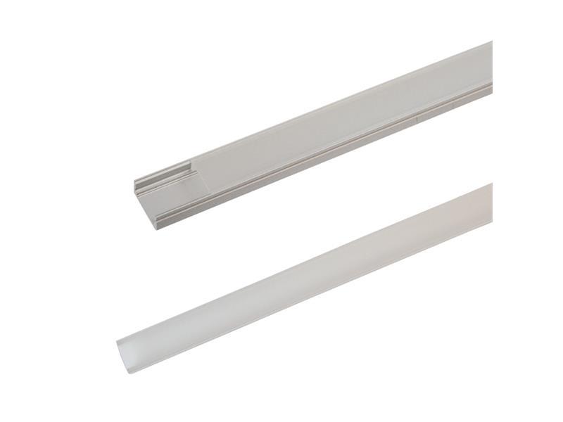 Hliníkový profil AS1 pre LED pásiky, povrchový, s difúzorom, 1m