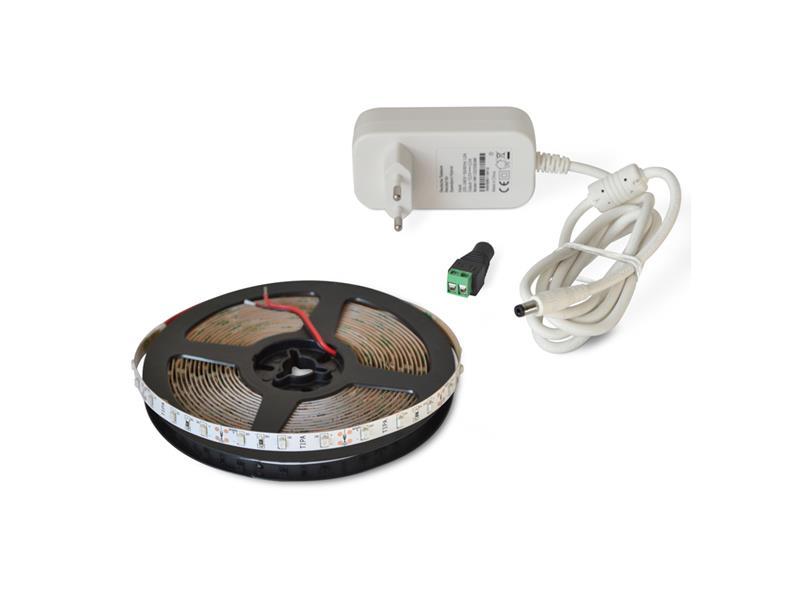 LED pásik sada 5m 12V 3528 60LED/m IP20 4.8W/m červená + zdroj