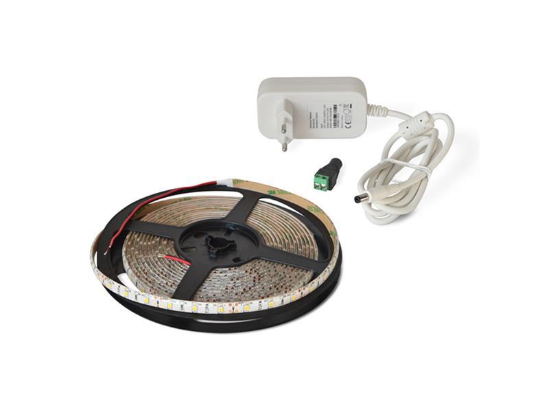 LED pásik sada 2,5m 24V 3528 60LED/m IP65 4.8W/m tepla biela + zdroj