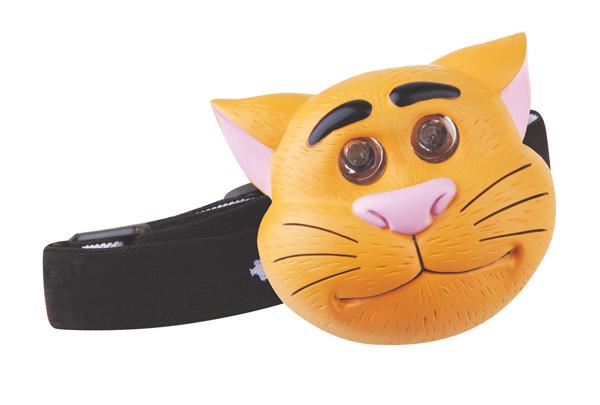 Svítilna čelovka LED kočka