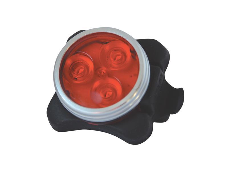 Svítilna na kolo zadní, 3 LED, s USB, červená