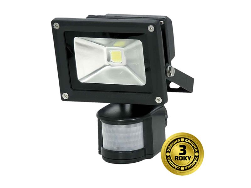LED vonkajšie reflektor, 10W, 700l, AC 230V, čierna, so senzorom PIR