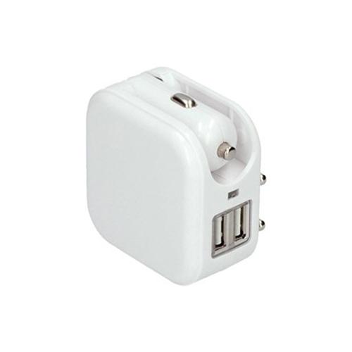 Adaptér auto+zásuvka, 2x USB, max. 2400mA, AC 230V / DC 12V, bílý DC42