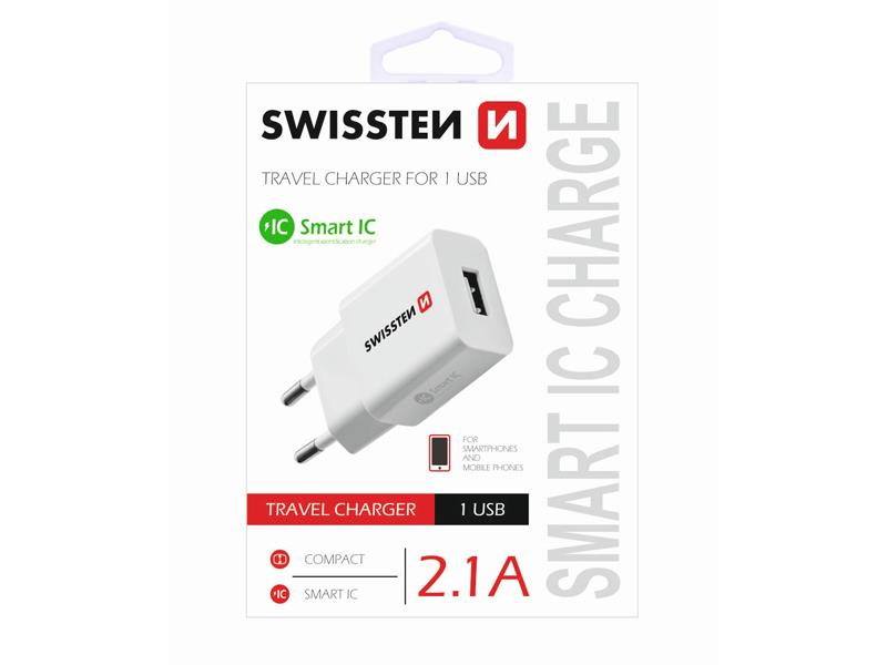 Adaptér sieťový SWISSTEN SMART 1 x USB 2,1A POWER BÍLÝ