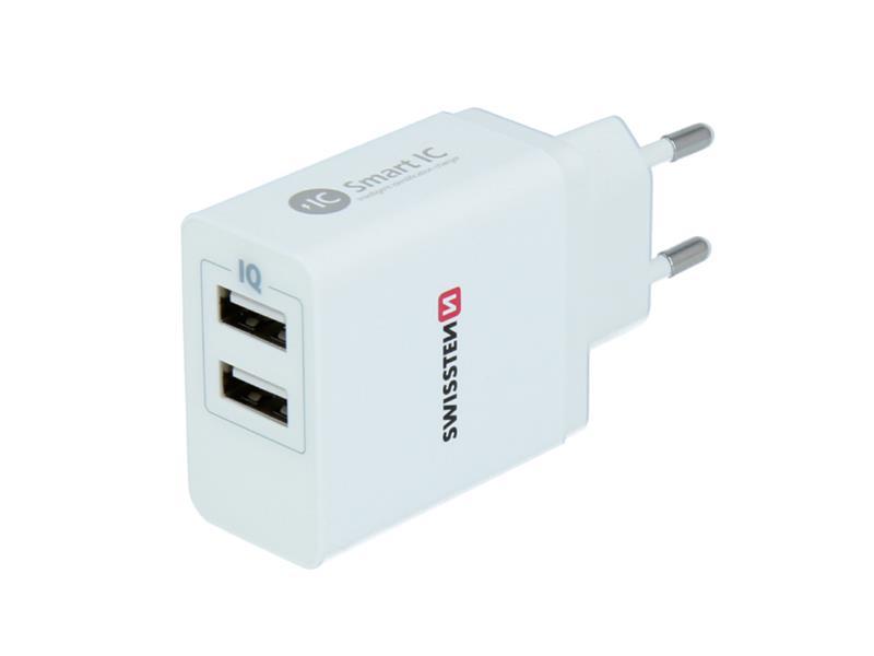 Adaptér sieťový SWISSTEN SMART IC 2x USB 3,1A POWER BIELY