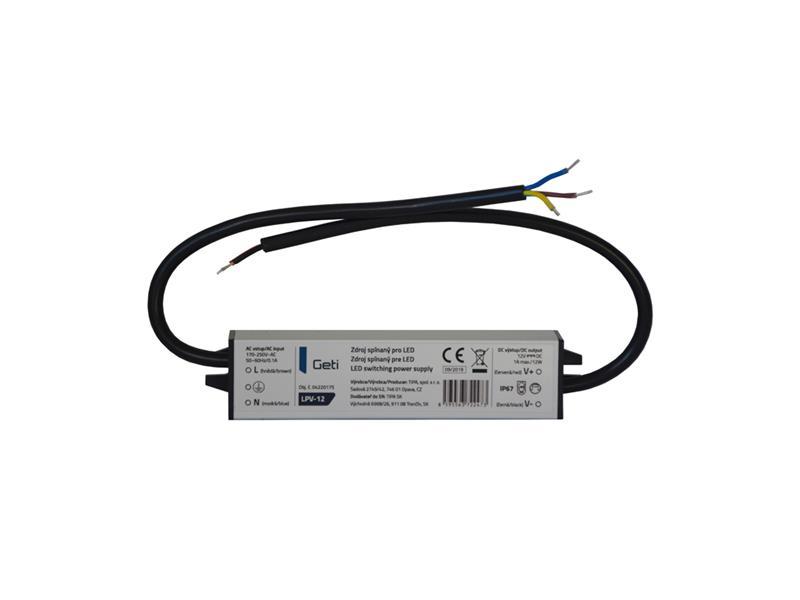 Zdroj spínaný pre LED 12V/ 12W Geti LPV-12