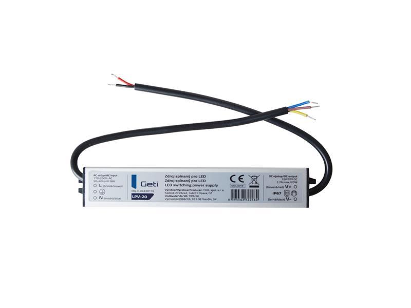 Zdroj spínaný pre LED 12V/ 20W Geti LPV-20