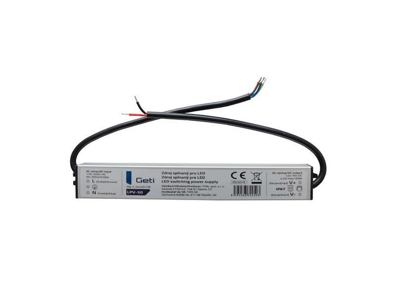 Zdroj spínaný pre LED 12V/ 50W Geti LPV-50