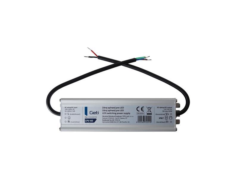 Zdroj spínaný pre LED 12V/ 60W Geti LPV-60