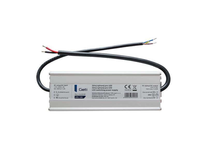 Zdroj spínaný pre LED 12V/120W Geti LPV-120