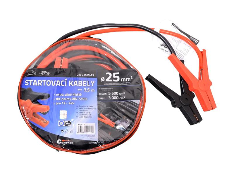 Kabely startovací 25mm2 se svorkami 3,5m TÜV/GS DIN72553