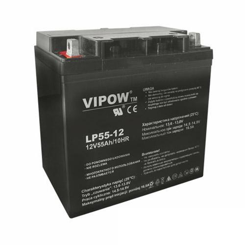 Baterie olověná 12V/55Ah VIPOW bezúdržbový akumulátor