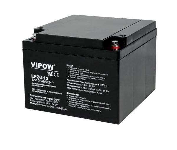 Baterie olověná 12V/26Ah VIPOW bezúdržbový akumulátor