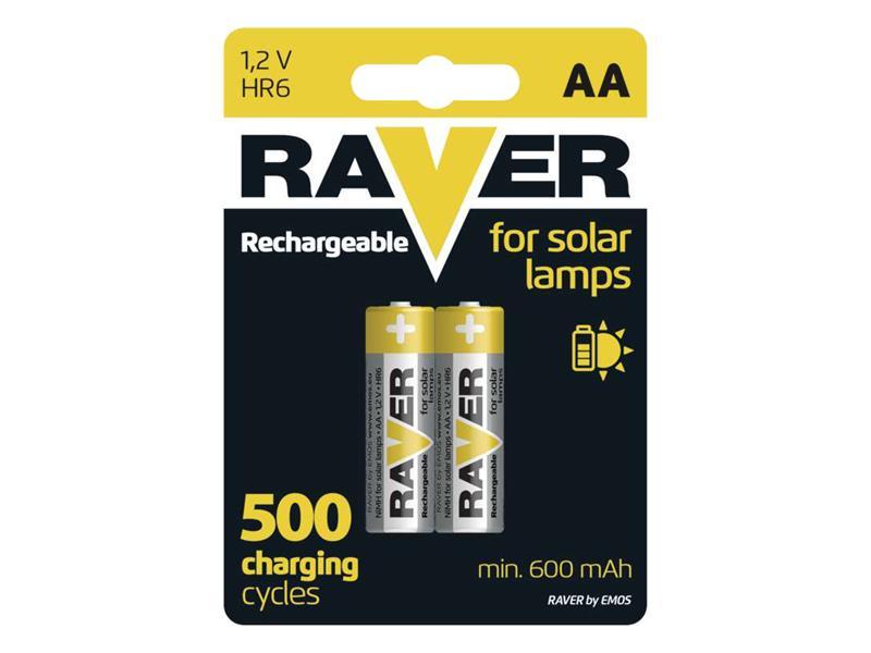 Batéria AA (R6) nabíjacia 1,2V/600mAh RAVER solar 2ks