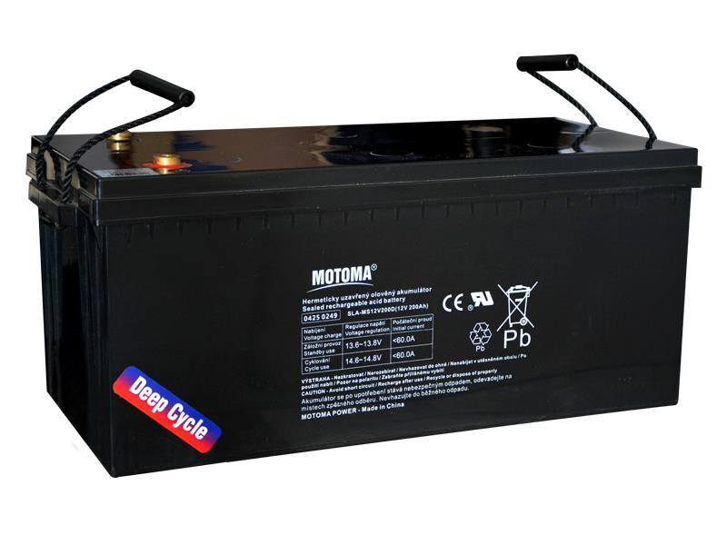 Batéria olovená 12V 200Ah MOTOMA pre soláry - Nadrozmerný tovar, nutné dohovoriť telefonicky dopravu