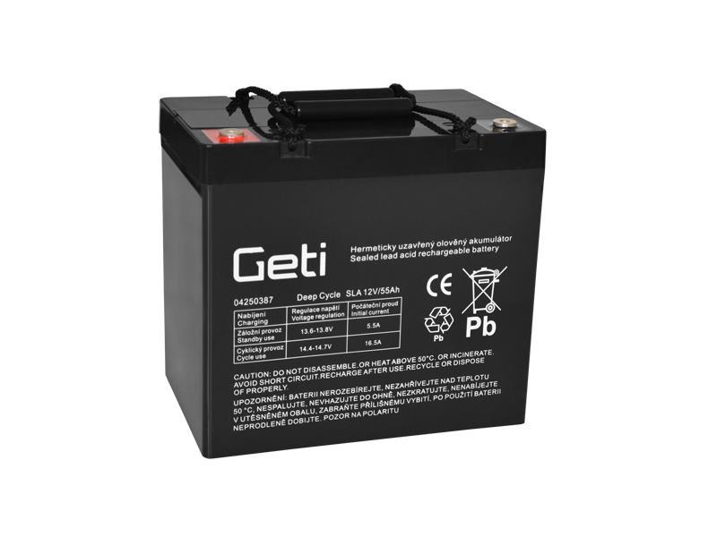 Batérie olovená 12V 55Ah Geti pre elektromotory