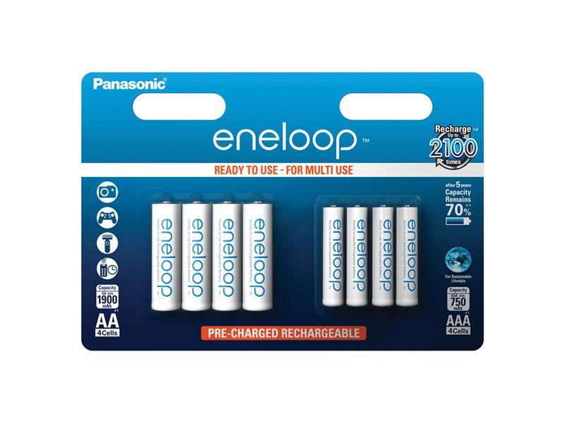Batérie AAA (R03) + AA (R6) nabíjacie 1,2V/750mAh/1900mAh Eneloop PANASONIC 8ks sada