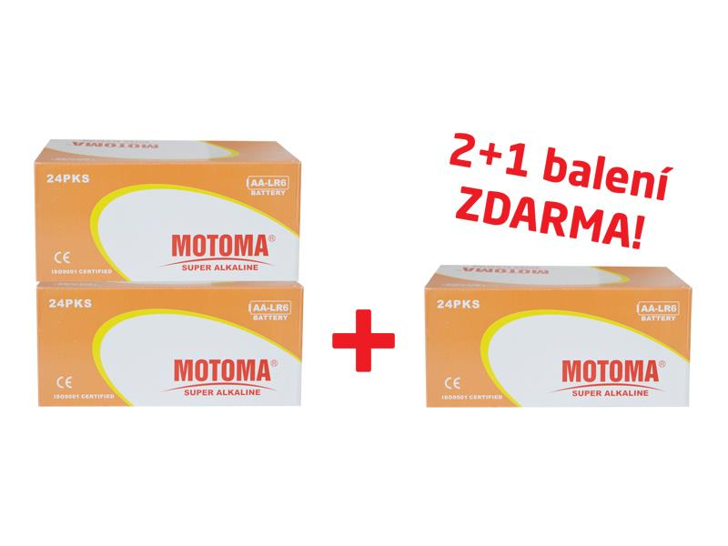 Balíček 2+1 (288 ks) Batérie alkalická AA (R6) MOTOMA Ultra Alkaline (3 krabice 04270214)