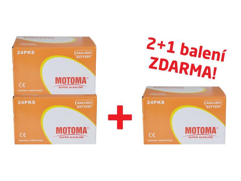 Balíček 2+1 (288 ks) Batéria alkalická AAA (R03) MOTOMA Ultra Alkaline (3 krabice 04270213)