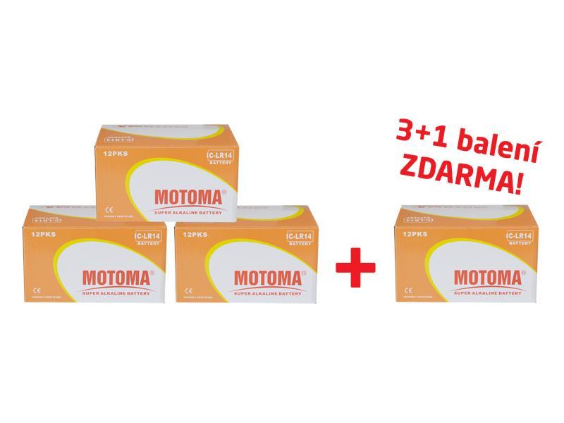 Balíček 3+1 (96 ks) Batéria C (R14) alkalická MOTOMA Ultra Alkaline (4 krabice 04270218)