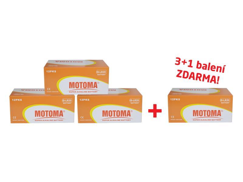 Balíček 3+1 (96 ks) Batéria D (R20) alkalická MOTOMA Ultra Alkaline (4 krabice 04270217)