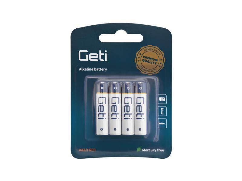 Batérie AAA (LR03) alkalická Geti 1,5V Blister (4 kusy)