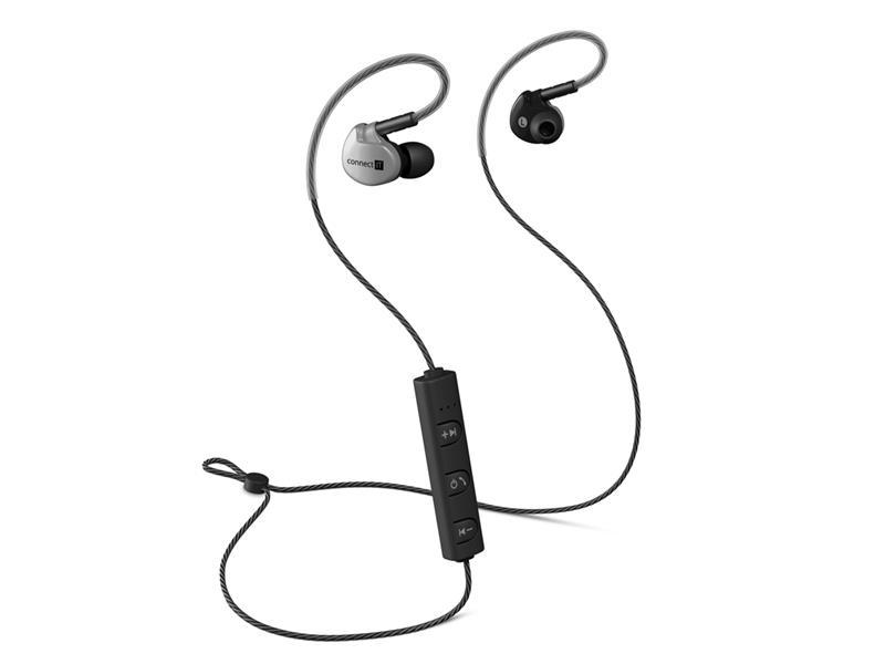 Sluchátka CONNECT IT CEP-3030-AN Wireless Sport Sonics Bluetooth do uší s mikrofonem, antracitová