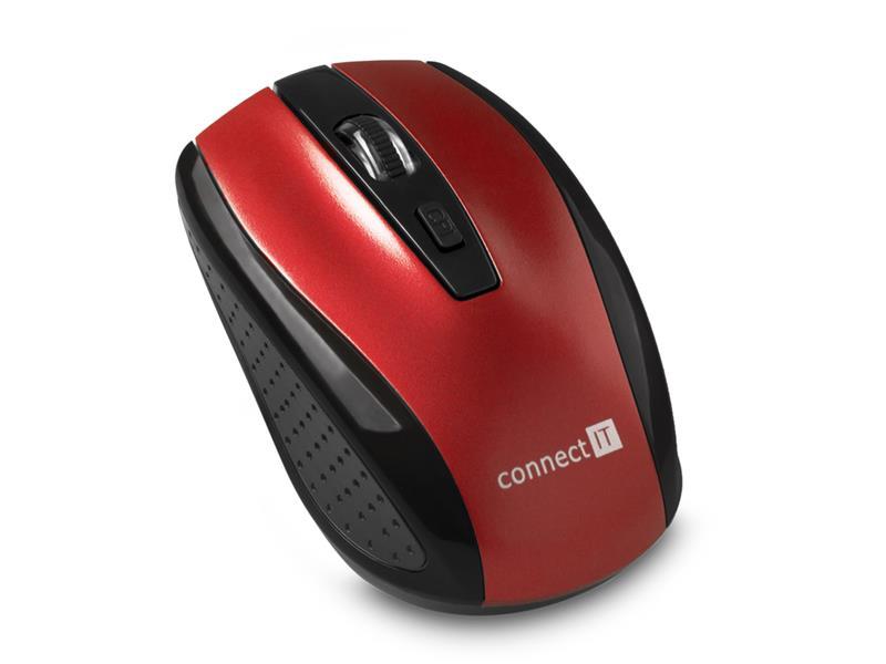 Myš bezdrátová Connect IT CI-1224 (+ 2x AAA baterie zdarma), červená