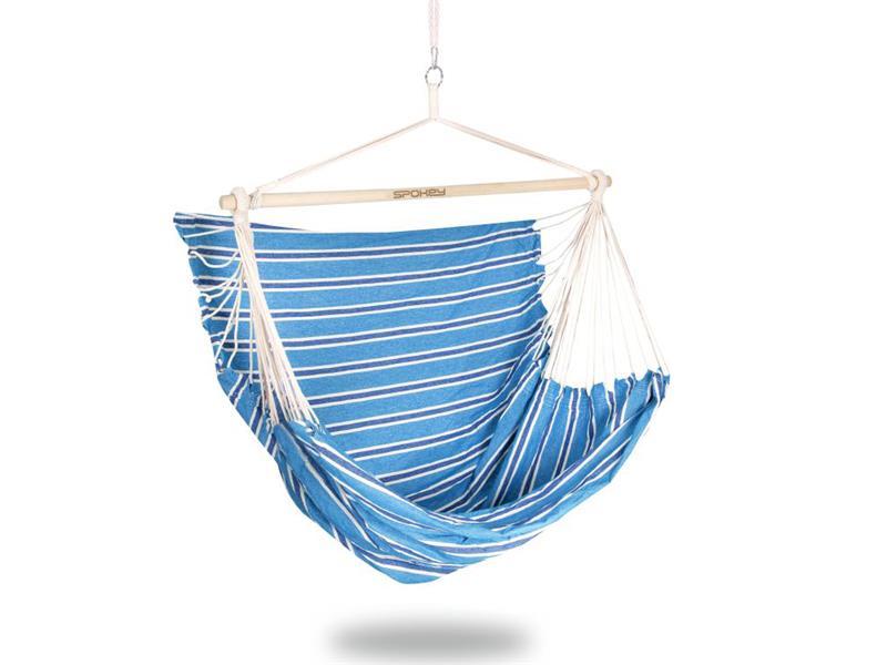 Sieť hojdacia SPOKEY BENCH DELUXE modré pruhy, sedátko pre dvoch, do 160kg