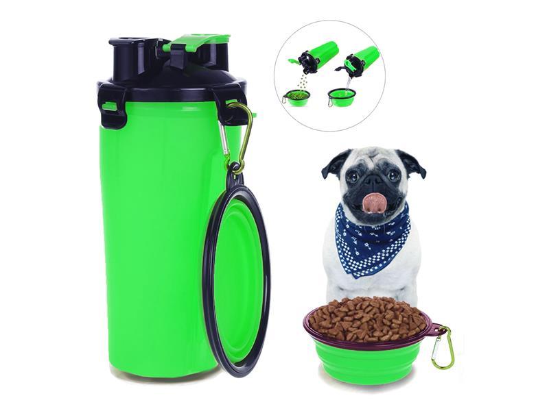 Fľaša cestovná na vodu a krmivo - zelená