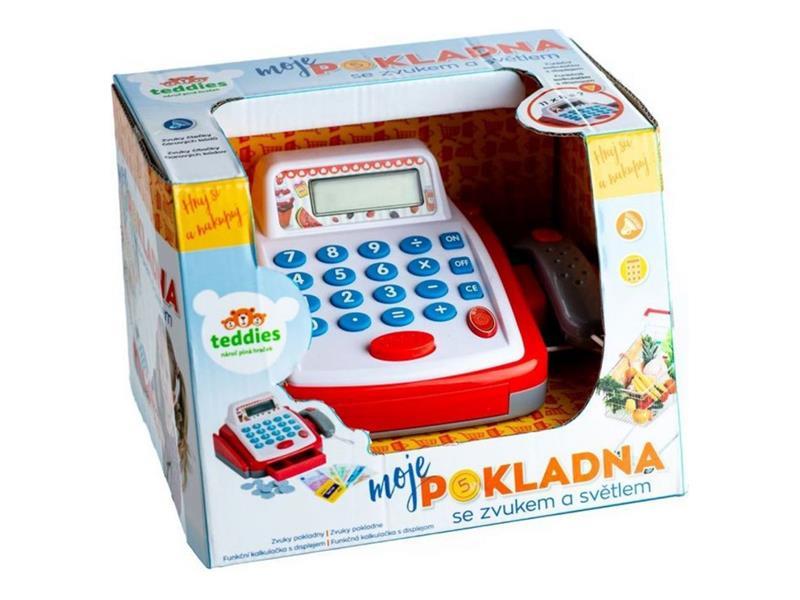 Detská pokladňa TEDDIES so zvukom a svetlom 18 cm