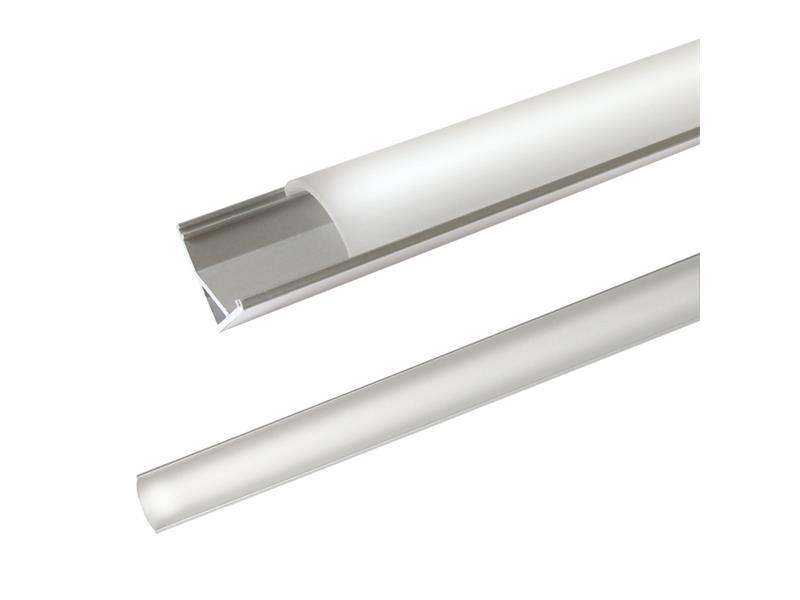 AL profil AC2 nový pre LED pásiky, rohový, s vypouklým plexi, 2m