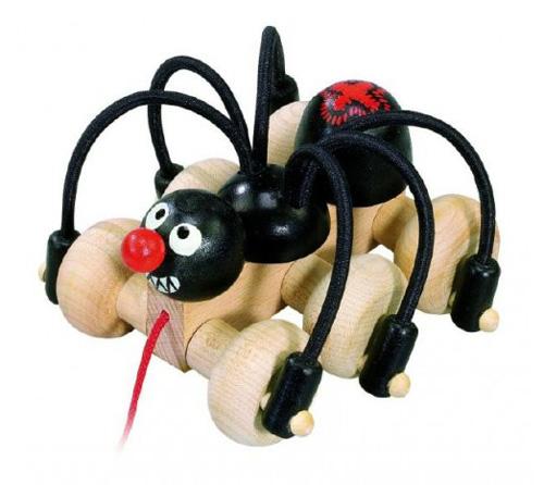 Detský ťahacie čierny pavúk DETOA drevený 11 cm