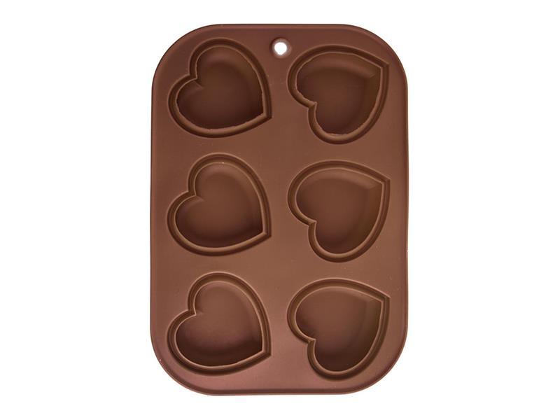 Forma na pečenie ORION Muffiny Srdce 6 silikón hnedá
