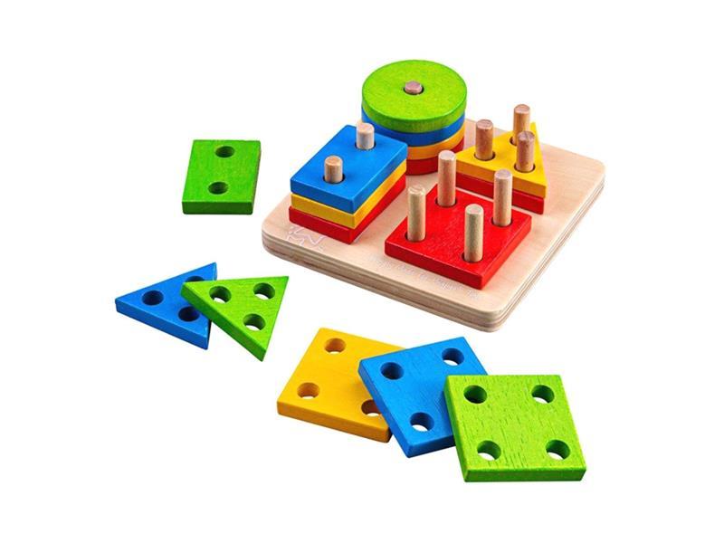 Detská hra BIGJIGS TOYS Nasadzovanie farebných tvarov na tyče drevená