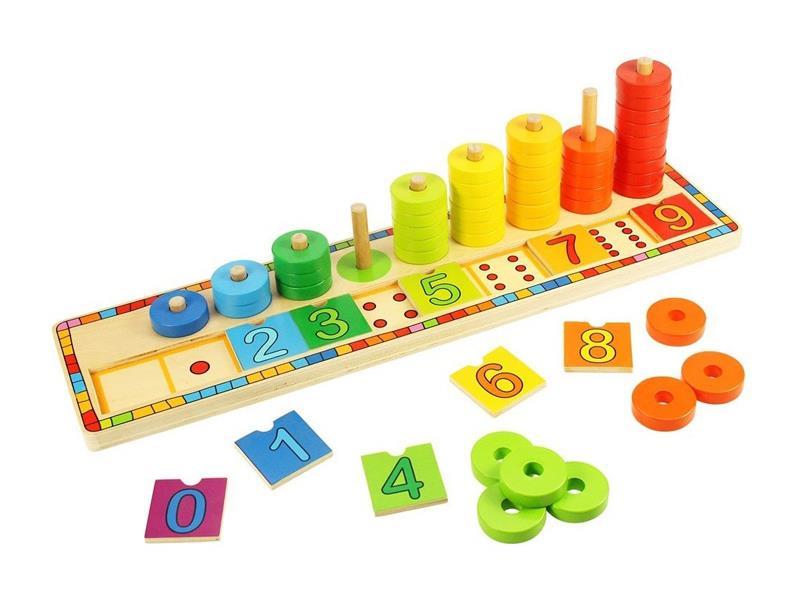 Detská hra BIGJIGS TOYS Doska nasadzovanie s číslami drevená