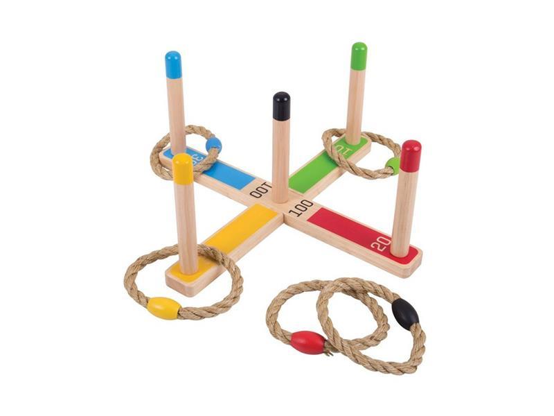 Detská hra BIGJIGS TOYS Hádzanie kruhov drevená