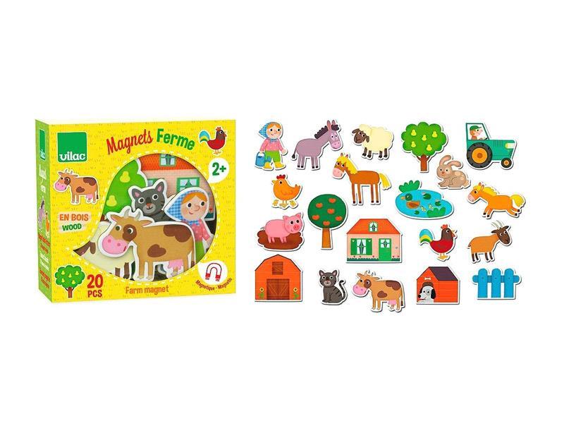 Detské magnetky VILAC Farma drevené 20ks