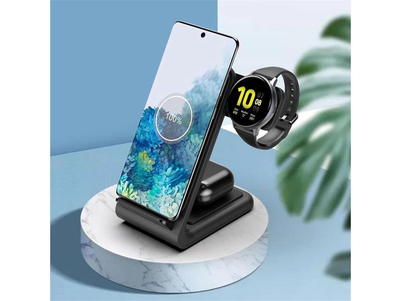 Nabíjacia stanica 3v1 pre Samsung 10W BLACK