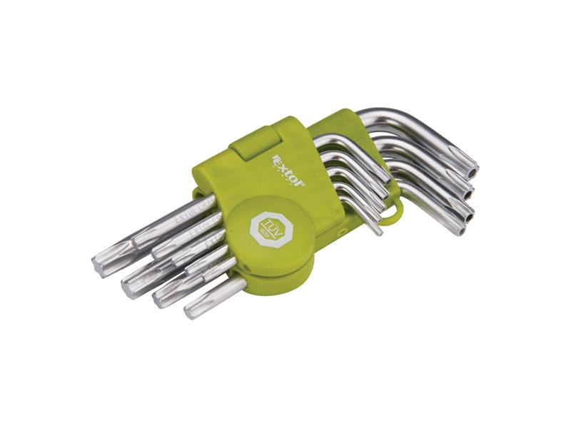 L-kľúče TORX krátke, sada 9ks, T10-15-20-25-27-30-40-45-50 EXTOL CRAFT
